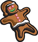 Drawing of a gingerbread man