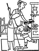 A black and white version of a woman and young boy tidying his room