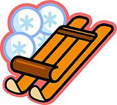 Illustration of a wooden sled and snowflakes
