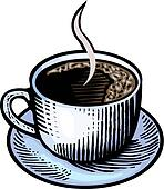 An illustration of a steaming cup of coffee