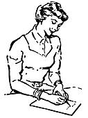 A black and white version of a vintage style portrait of a woman writing a note