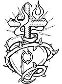 A black and white version of a stencil of a pierced heart surrounded with thorns and a flaming cross in it