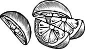 A black and white drawing of lemon wedges