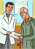 Doctor handing a prescription to an elderly man