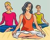 Illustration of three women doing yoga meditation in lotus positions