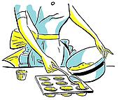 A vintage illustration of a woman baking muffins