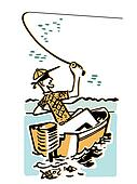 A cartoon style image of a man fishing