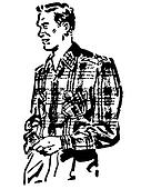 A black and white version of a vintage illustration of a man in a plaid shirt