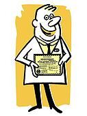 A cartoon style illustration of a doctor with his diploma