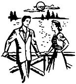 A black and white version of an illustration of a man and woman on a date