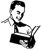 A black and white version of a vintage drawing of a man reading a book