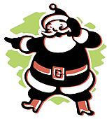 A black and white version of a Christmas inspired Santa illustration