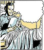 A graphical illustration of a man in a hospital bed