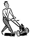 A black and white version of a man moving the lawns