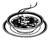 A black and white version of a print of a bowl of soup
