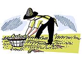 An illustration of a man working in the fields