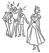 A black and white version of a woman being admired by a group of young men