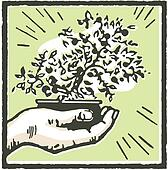 A print of a hand holding a Bonsai tree