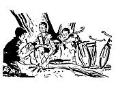 A black and white version of a group of boys around a camp fire