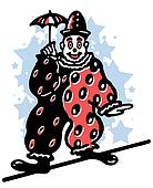 An illustration of a clown walking a tightrope