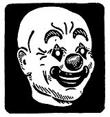 A black and white version of a black and white version of an illustration of a clowns head