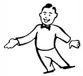 A black an white version of a cartoon style drawing of a man dressed in a lounge suit pointing his finger