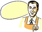 A man wearing a shirt an tie and an apron with an empty speech bubble behind him