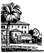 A black and white version of an illustration of a large home with a well established Palm tree in the front yard