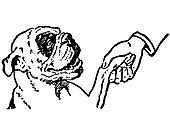A black and white version of a cleaver Bulldog shaking hands with its owner