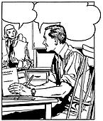 A black an white version of a comic style illustration of a man at a desk talking to a woman in the background