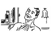 A black and white version of a vintage illustration of a man shaving in the morning