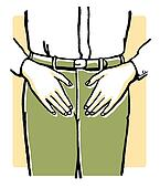 A vintage illustration of an mans midriff