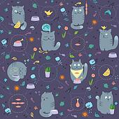 Seamless Pattern - Cats And Natural