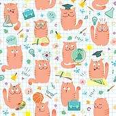 Seamless Pattern - Pink Cats And Sc