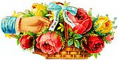 a hand holding a basket with flowers