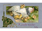 A vintage Easter postcard of a hen and chicks