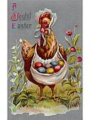 A vintage Easter postcard of a hen carrying colored Easter eggs
