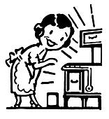 A black and white version of a cartoon vintage style portrait of a woman baking