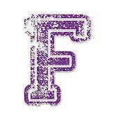 Letter F in College Glitter