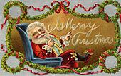 Vintage Christmas card of Santa Claus sitting in a chair and wreaths