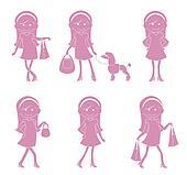 Cute Girl Shopping Cartoon silhouet