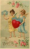 A vintage Valentine postcard with two angels holding a heart and forget-me-not flowers