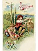 A vintage Easter postcard of two boys on an Easter egg hunt