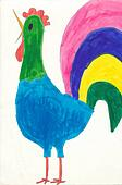 Child's drawing - Colourful Easter Rooster
