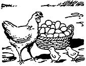 A black and white version of an illustration of a hen with two small chicks and a large basket of eggs