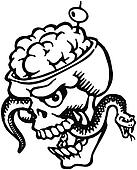 A black and white version of a skull with bulging brains and a snake and olive filled tooth pick
