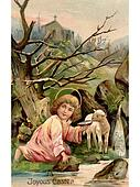 A vintage Easter postcard of a little angel with a lamb by the river with a church in the background