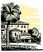 An illustration of a large home with a well established Palm tree in the front yard