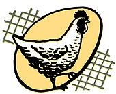 A hen with an egg silhouetted behind