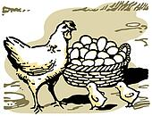 An illustration of a hen with two small chicks and a large basket of eggs